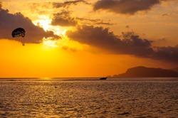 Parasailing at sunset, Alanya beach