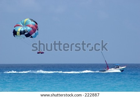 Parasailing over the Caribbean Sea, Cancun.