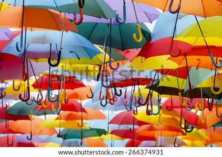 Parasol. Multicolored umbrellas. Color umbrellas urban decoration. Multicoloured umbrellas