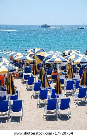 Parasols on the beach in Cannes (south of France)