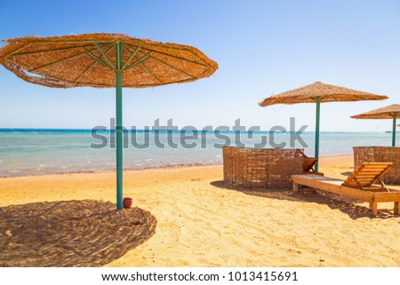 Parasols on the beach of Red Sea in Hurghada, Egypt #1013415691