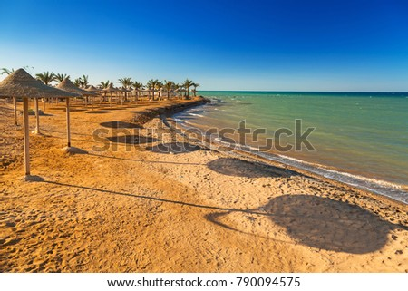 Parasols on the beach of Red Sea in Hurghada, Egypt #790094575
