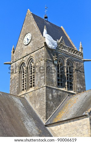 Paratrooper hanging from church, St. Mere Eglise, Normandy, France