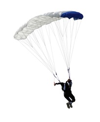 paratrooper parachute jump in isolated