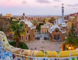 Parc Guell at sunset, Barcelona, Spain