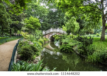 Parc Monceau (1778) is a public park located in the 8th arrondissement of Paris, France. Park Monceau contains wonderful surprises: statues, Renaissance arch, bridges, pond and rich vegetation. Photo stock ©