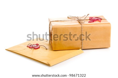 Parcel and envelope with sealing wax isolated on white