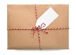 Parcel gift box on white background