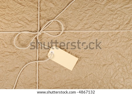 Parcel package brown paper background, label