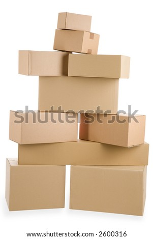 parcel pyramid isolated on white background