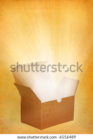 parcel with a treasure inside on old weathered background
