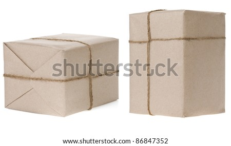 parcel wrapped box with tied rope isolated on white background