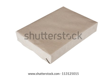 Parcel wrapped in brown paper and tied with rough twine and blank label, isolated on white background.