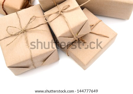 parcel wrapped packaged boxes isolated on white background