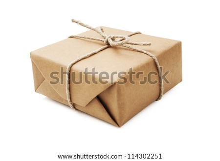 Parcel wrapped with brown paper and tied with string