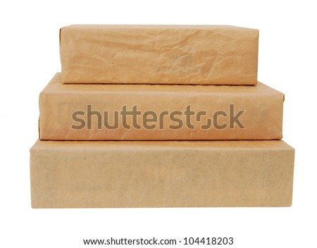 parcel wrapped with brown paper tied isolated on white background