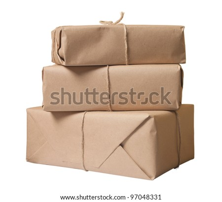 parcel wrapped with brown paper tied with rope isolated on white background