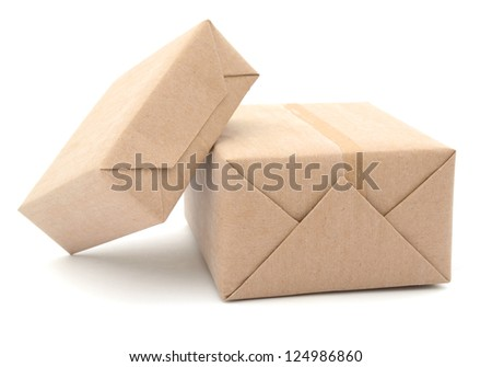 Parcel wrapped with recyclable brown paper
