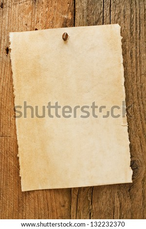 Parchment paper notice sign similar to the grungy cowboy wanted posters often used to symbolise the wild west of america