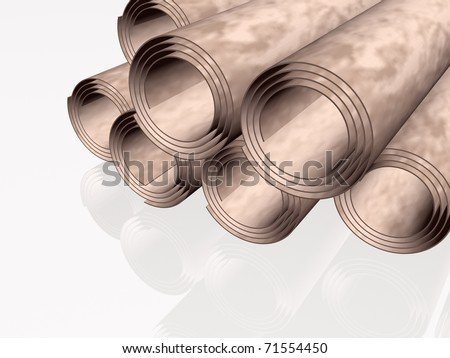 Parchment rolls, white reflection background.