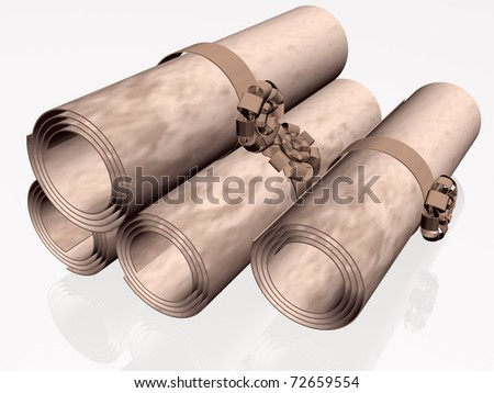 Parchment rolls with brown strips, white reflection background.