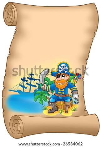 Parchment with sitting pirate - color illustration.