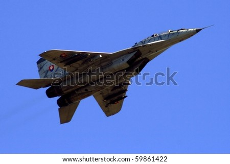 PARDUBICE,CZECH REPUBLIC - JUNE 5: Mig-29 during 100 years of aviation airshow - Slovak army on June 5, 2010 in Pardubice, Czech Republic.