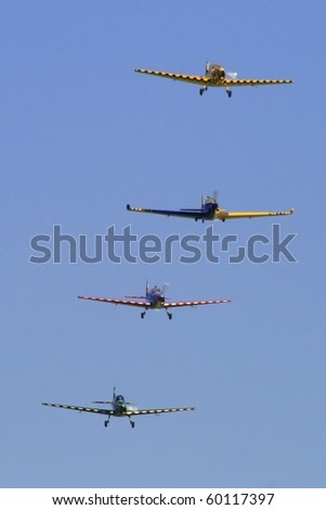 PARDUBICE,CZECH REPUBLIC - JUNE 5: stunt flying during 100 years of aviation airshow on June 5, 2010 in Pardubice, Czech Republic. - stock photo
