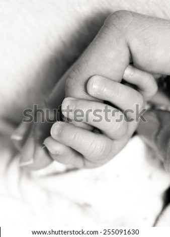 Parenting and love concept. Closeup newborn baby holding his mothers finger. Square format, black white photo