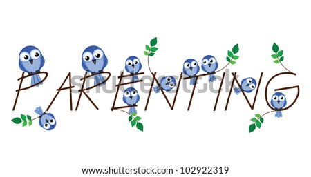 Parenting twig text isolated on white background - stock photo