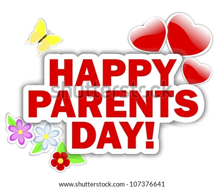 Parents day stickers with hearts, flower and butterfly.  Raster version.