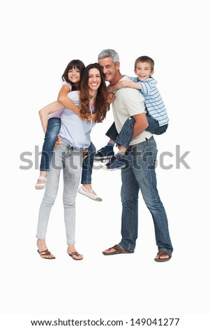Parents holding their children on backs on white background