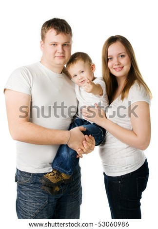 parents with child on hands isolated on white