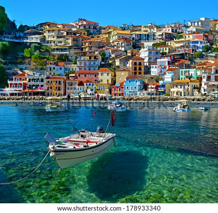 Parga boat - heaven on earth -  Greece holidays - clear sea and reflaction #178933340