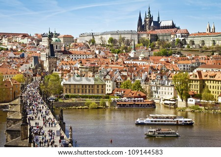 Pargue , view of the Lesser Bridge Tower of Charles Bridge (Karluv Most) and Prague Castle, Czech Republic.