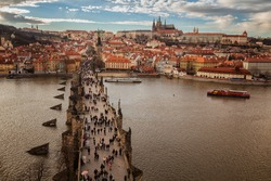 Pargue , wiew of the Lesser Bridge Tower of Charles Bridge Karluv Most and Prague Castle.