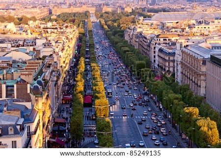 Paris aerial view from Triumphal Arch on Champs Elysees