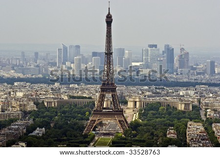 Paris Aerial view with Eiffel tower