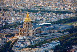 Paris aerial with Les Invalides, France. Twilight aerial view of Paris, France from Montparnasse Tower with Les Invalides building. Beautiful Les Invalides in Paris, France