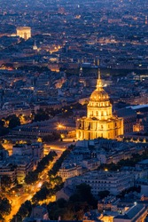 Paris aerial with Les Invalides, France. Twilight aerial view of Paris, France from Montparnasse Tower with Les Invalides building and Arc de Triomphe. Beautiful Les Invalides in Paris, France