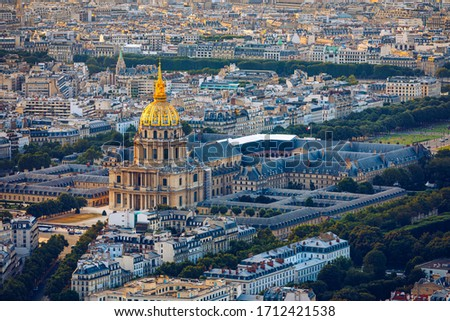 Paris aerial with Les Invalides, France. Twilight aerial view of Paris, France from Montparnasse Tower with Les Invalides building. Beautiful Les Invalides in Paris, France Stockfoto ©