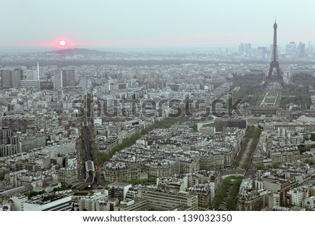 Paris and Eiffel tower seen from the top of montparnasse tower, France