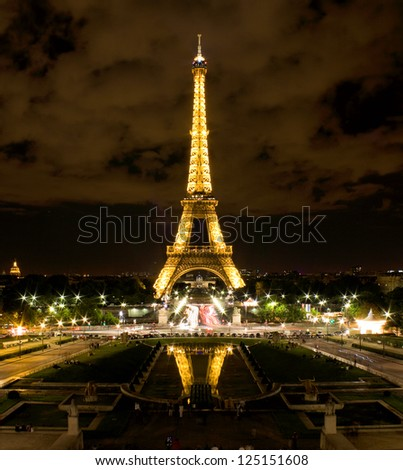 PARIS APRIL 21 Light Performance Show on April 21 2012 in Paris The Eiffel tower stands 324 metres 1 063 ft tall Monument was built in 1889 attendance is over 7 millions people