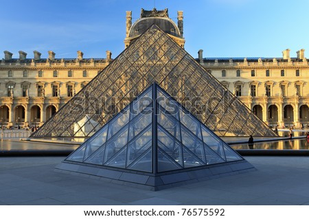 PARIS - APRIL 07: Louvre Pyramid on April 07, 2011 in Paris. Louvre is the biggest Museum in Paris displayed over 60,000 square meters of exhibition space.