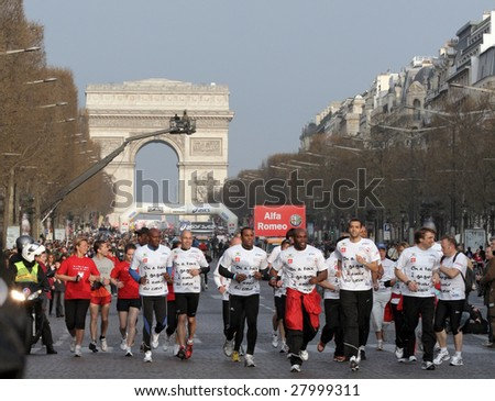 PARIS - APRIL 5: 31,373 people took part in the annual Paris Marathon, which started off from Arch of Triumph and ran through the city of Paris  April 5, 2009 in Paris, France.