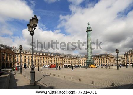 PARIS - APRIL 04: Place Vendome on April 04, 2011 in Paris. Place Vendome is one of the famous landmarks of Paris. The column was erected by Napoleon Bonaparte order.