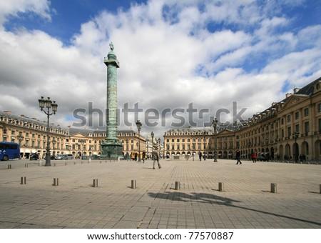 PARIS - APRIL 04: Place Vendome on April 04, 2011 in Paris. Place Vendome is one of the famous landmarks of Paris. The column was erected by the order of Napoleon Bonaparte.