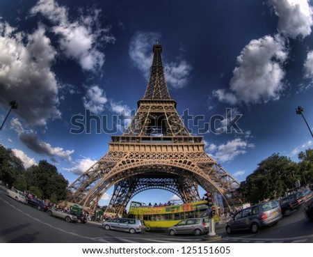 PARIS - APRIL 21: The Eiffel tower stands 324 metres (1,063 ft) tall. Monument was built in 1889, attendance is over 7 millions people. View on April 21, 2012 in Paris.
