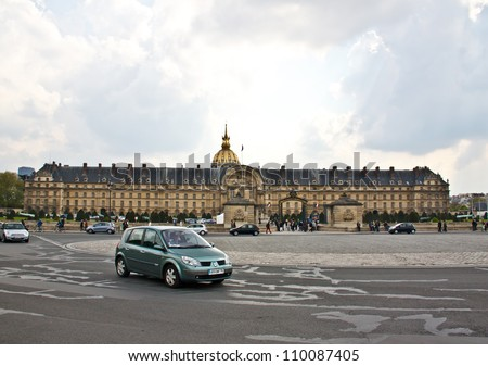 PARIS - APRIL 14:The famous building Les Invalides in Paris on April, 14, 2012. The building is a complex of buildings containing museums and monuments, all relating to the military history of France.