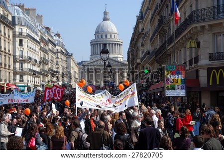 PARIS - APRIL 2: University teachers, research personnel and students demonstrate against French government reform plans of the academic structure on April 2, 2009, in Paris, France
